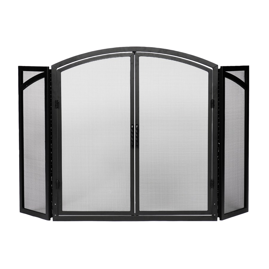 50 in black iron 4 panel arched twin fireplace screen at