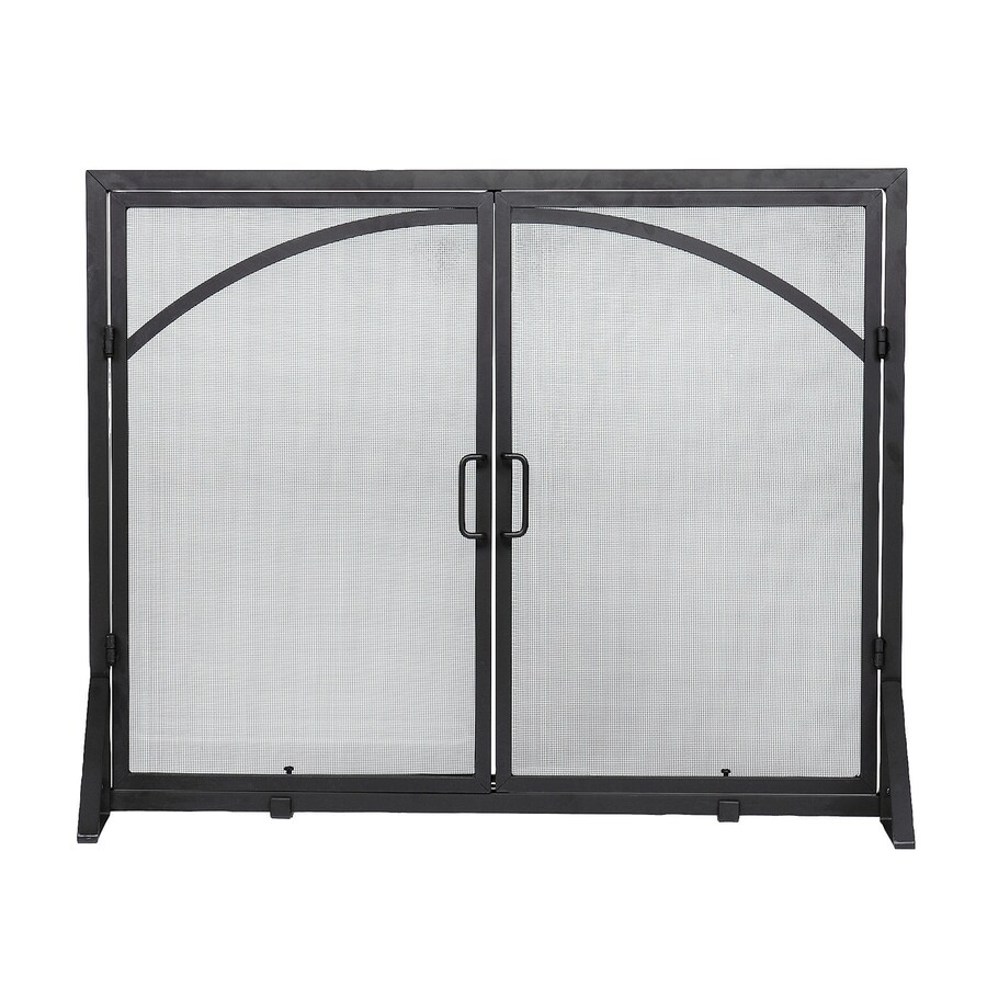 achla designs 39 in black iron flat twin fireplace screen at