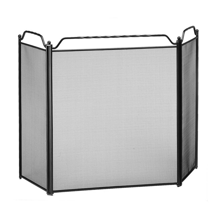 ACHLA Designs 51-in Black Steel 3-Panel Flat Fireplace Screen