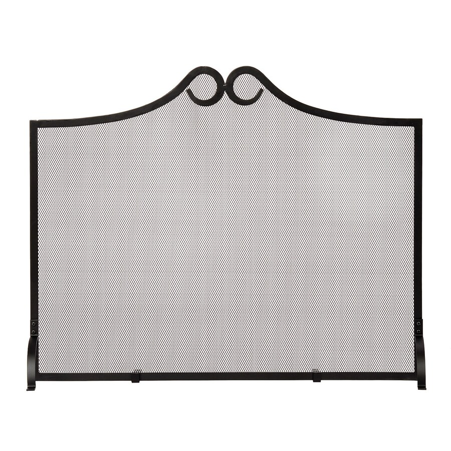 achla designs 38 in black iron arched fireplace screen at