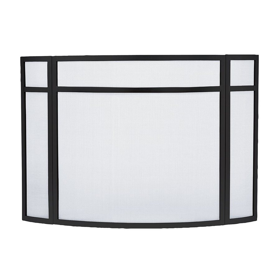 ACHLA Designs 48-in Black Iron Flat Fireplace Screen