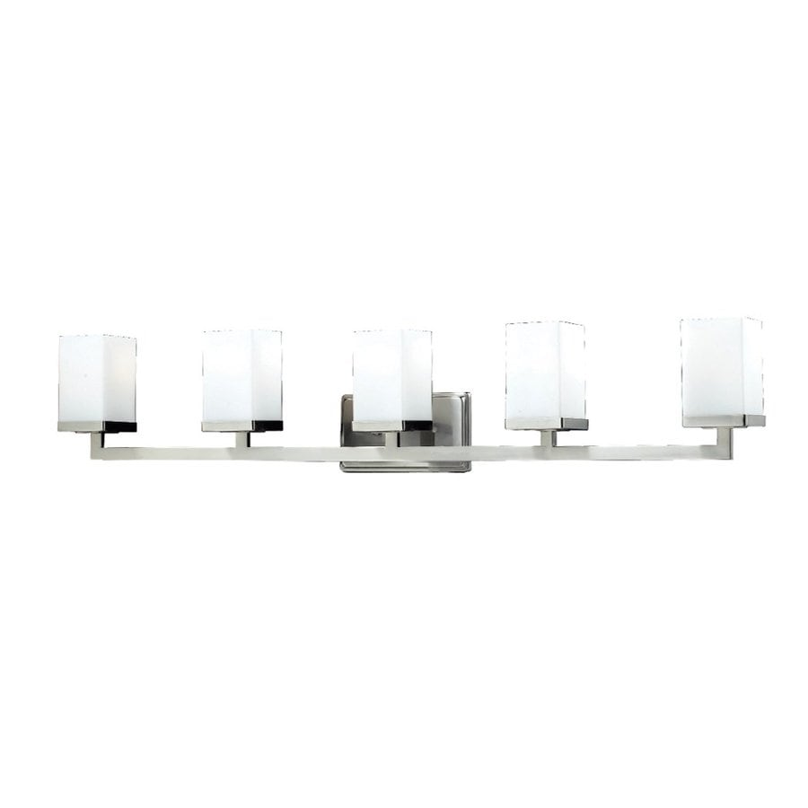 Z-Lite 5-Light Tidal Brushed Nickel/Matte Opal Bathroom Vanity Light