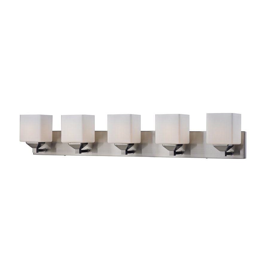 shop z lite 5 light quube satin nickel matte opal bathroom