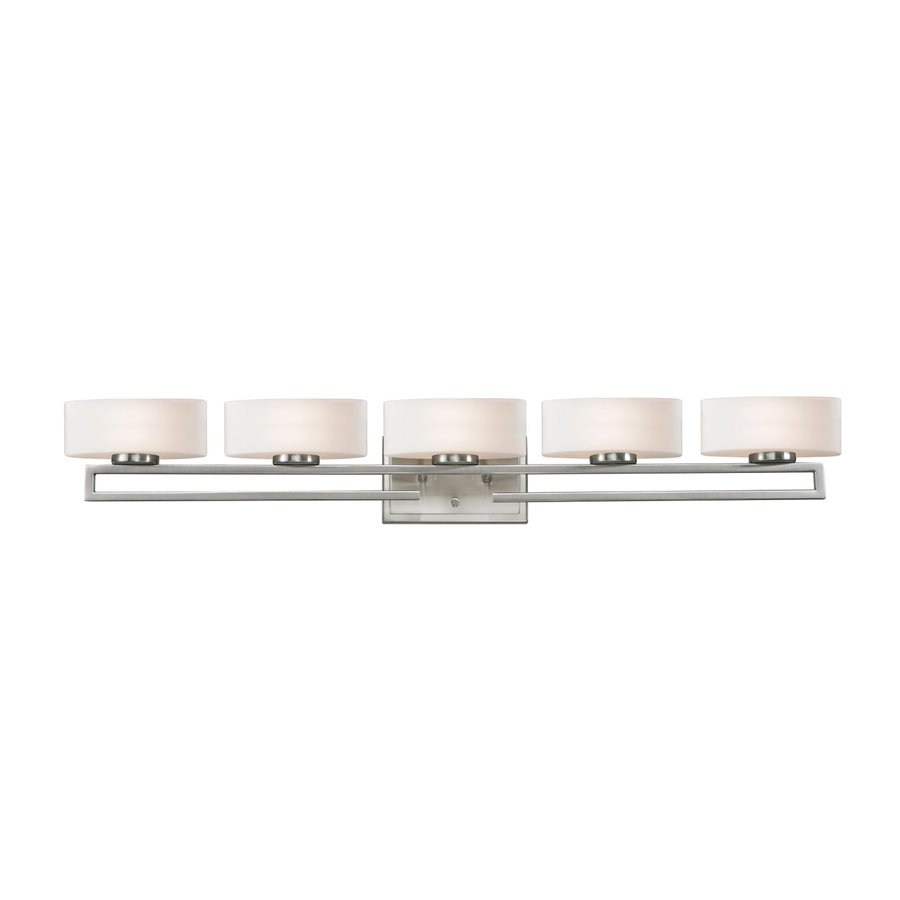 Z-Lite 5-Light Cetynia Brushed Nickel/Matte Opal Bathroom Vanity Light