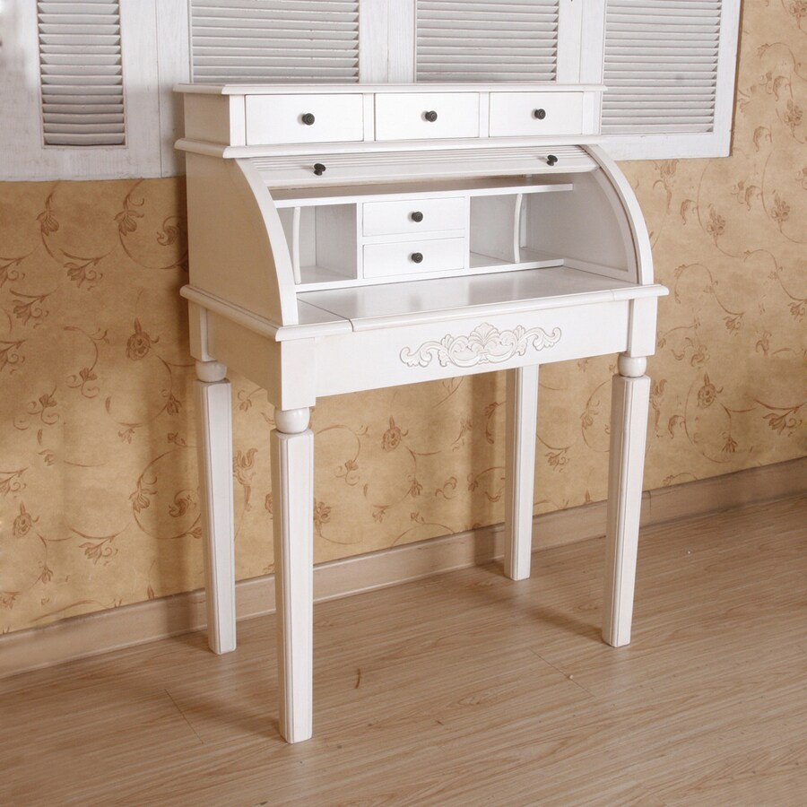 International Caravan Carved Wood White Secretarial Desk