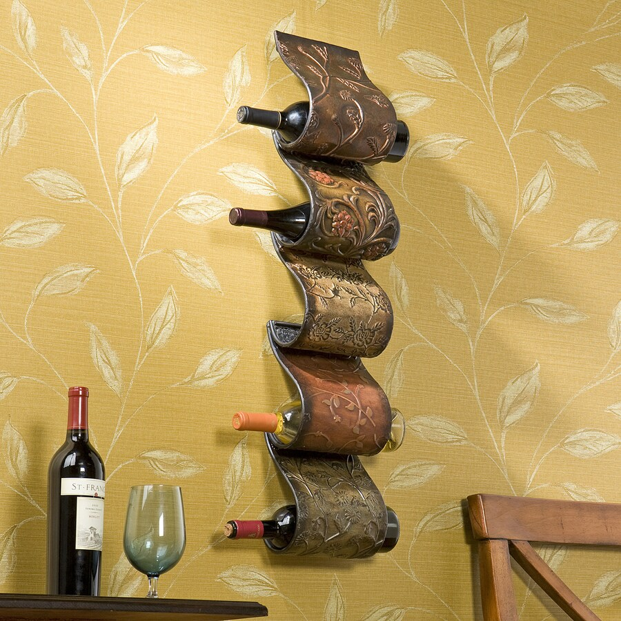 Boston Loft Furnishings Dominic 5-Bottle Multicolored Wall-Mount Wine Rack