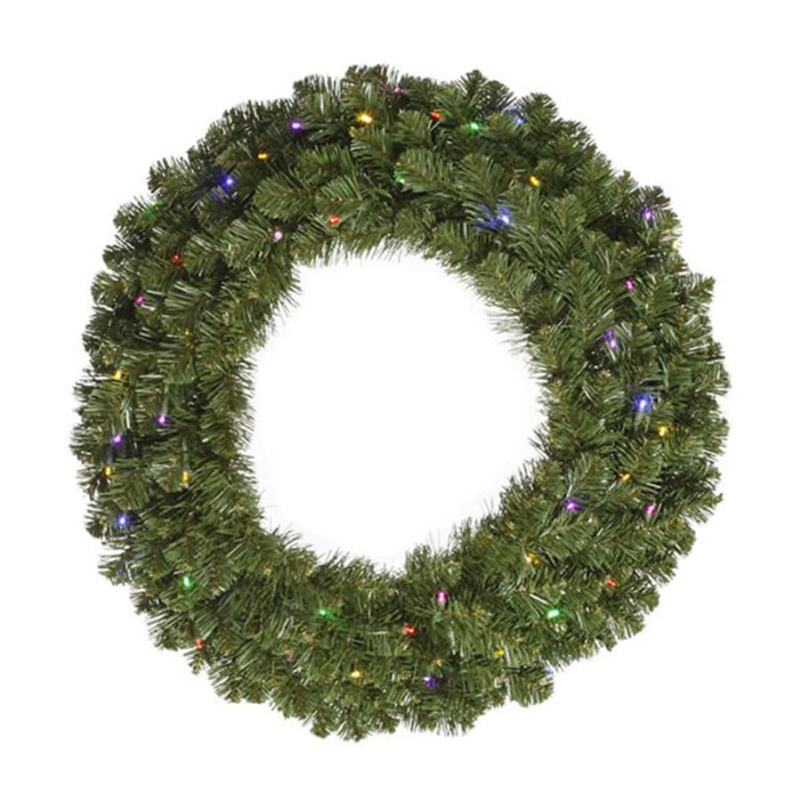 Vickerman 30-in Pre-Lit Grand Teton Artificial Christmas Wreath with Multicolor LED Constant Lights