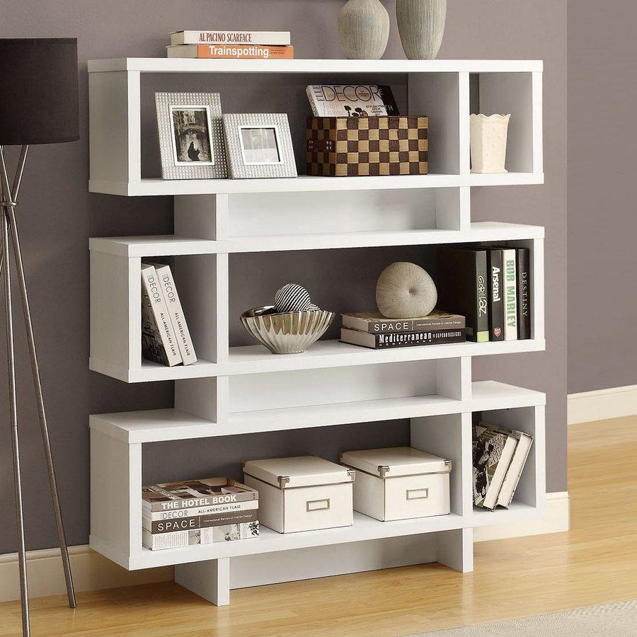 Monarch Specialties White 47.25-in W x 54.5-in H x 11.66-in D 3-Shelf Bookcase
