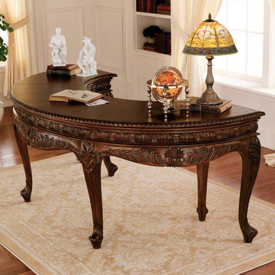 Design Toscano Mahogany U-Shaped Desk