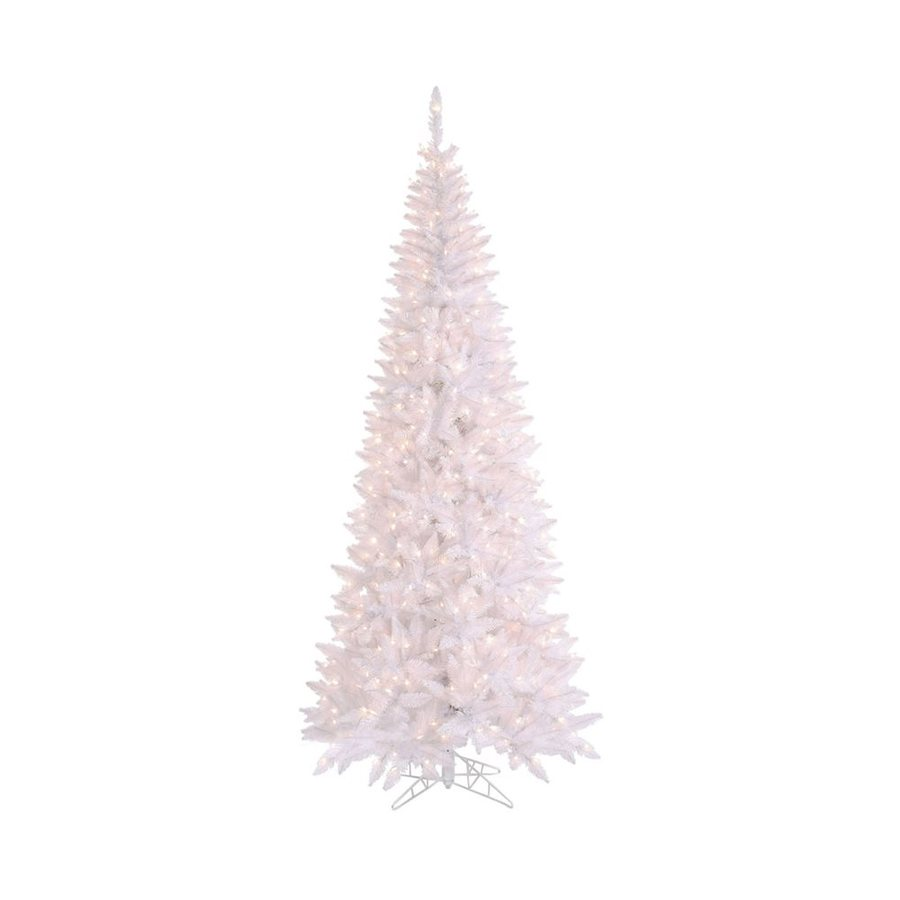 Vickerman 7.5-ft Indoor Fir Pre-Lit White Slim Fir Artificial Christmas Tree with Clear Lights