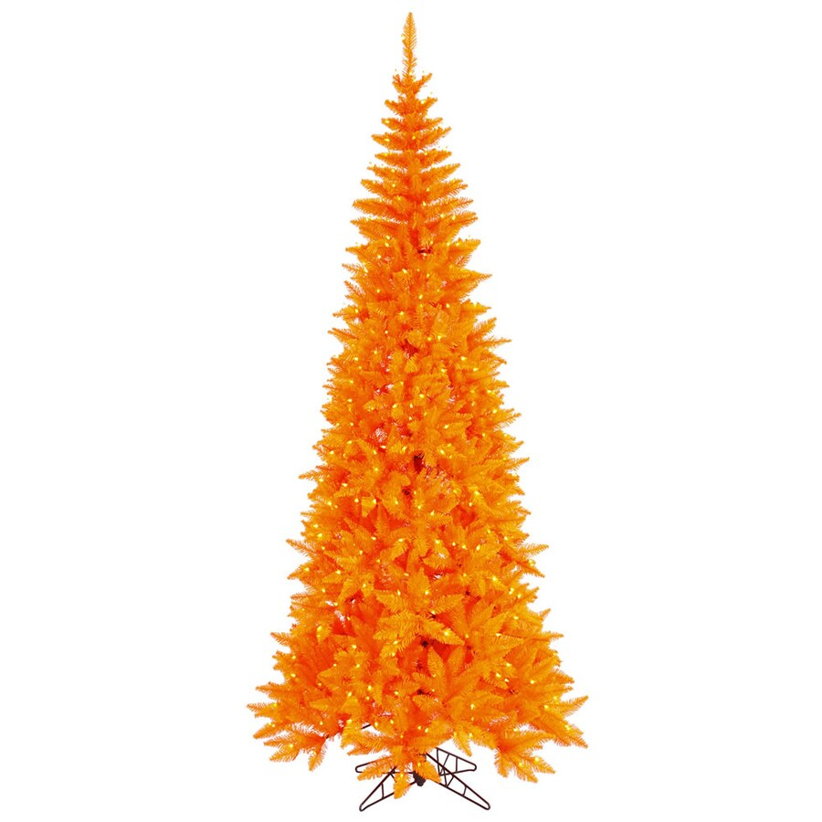 Vickerman 4.5-ft Pre-Lit Fir Artificial Christmas Tree with Orange Incandescent Lights