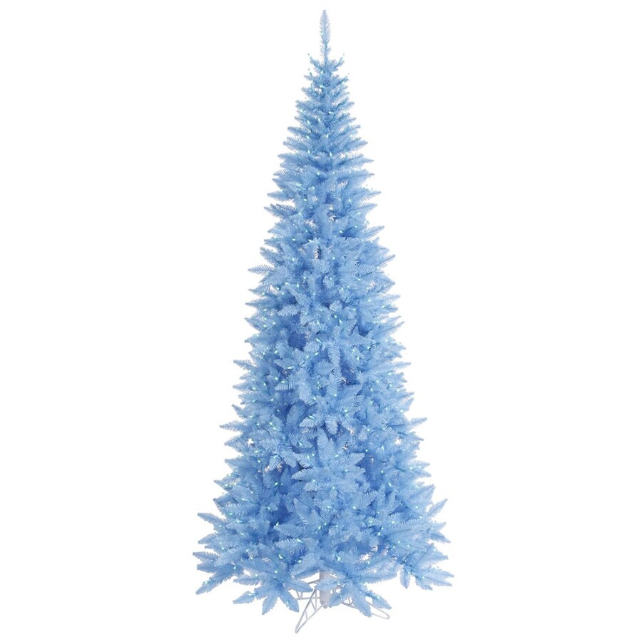 Vickerman 6.5-ft Pre-Lit Fir Slim Artificial Christmas Tree with Blue Incandescent Lights