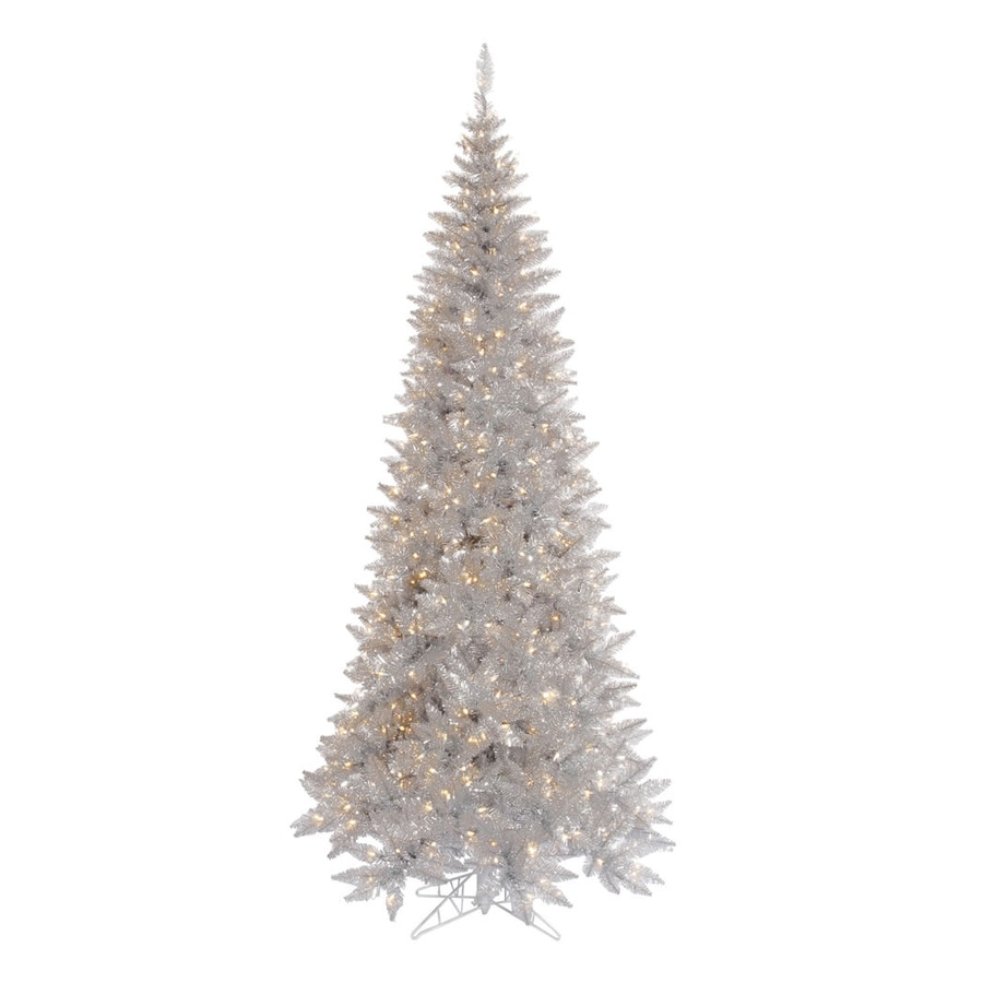 Vickerman 6.5-ft Indoor Fir Pre-Lit Silver Slim Fir Artificial Christmas Tree with Clear Lights
