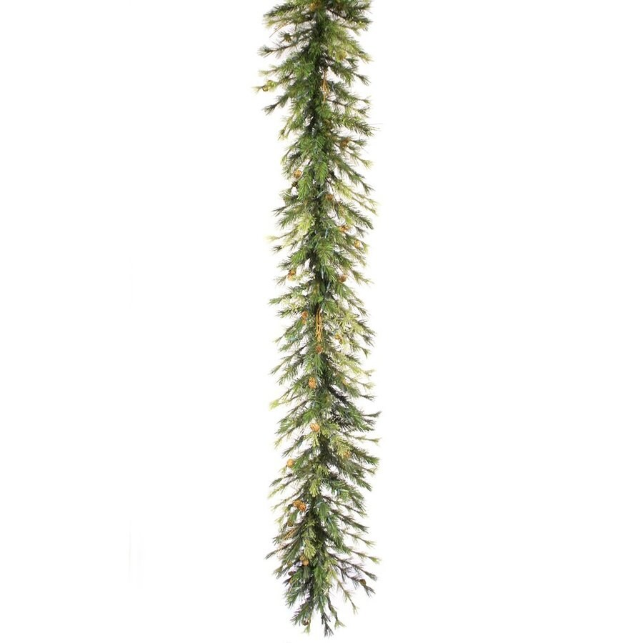 Vickerman 16-in x 9-ft Pre-Lit Pine Artificial Christmas Garland with White Incandescent Lights