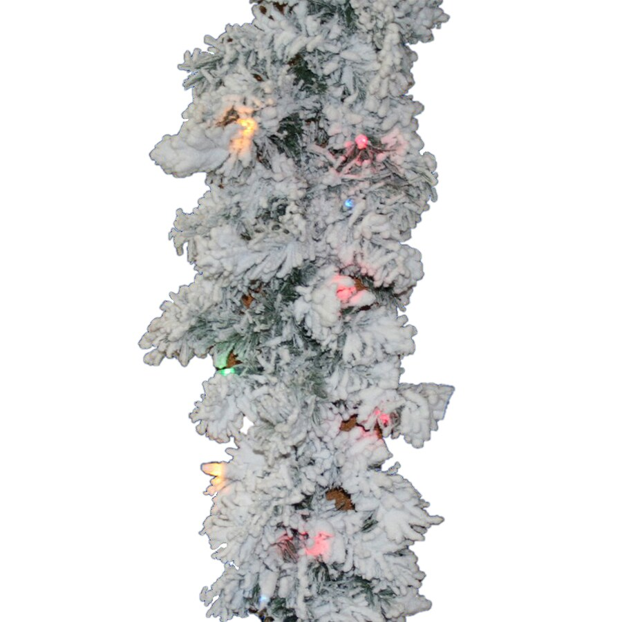Vickerman 16-in x 9-ft Pre-Lit Flocked Pine Artificial Christmas Garland with Multicolor Incandescent Lights