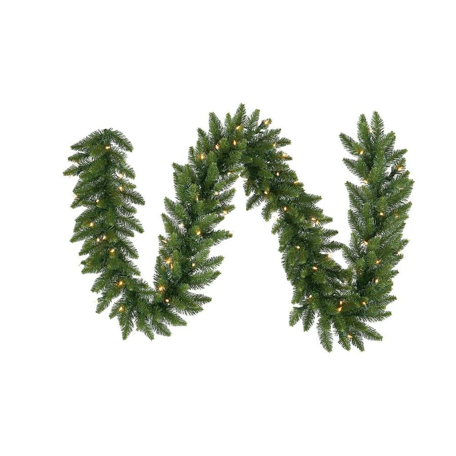 Vickerman 14-in x 50-ft Pre-Lit Camden Fir Artificial Christmas Garland with White LED Lights