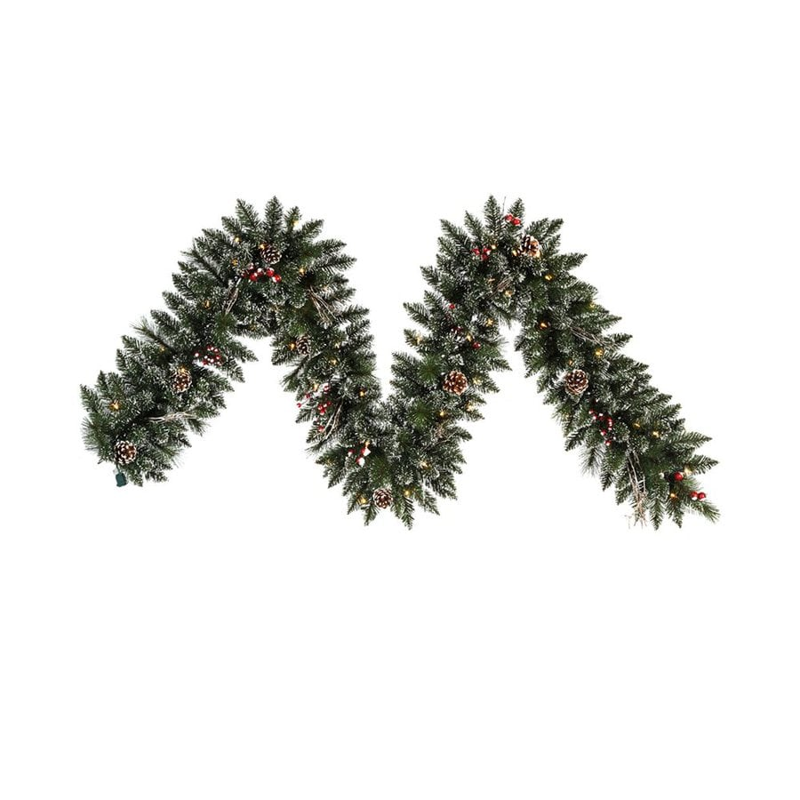 Vickerman Pre-Lit 9-ft L Pine Garland with White Incandescent Lights
