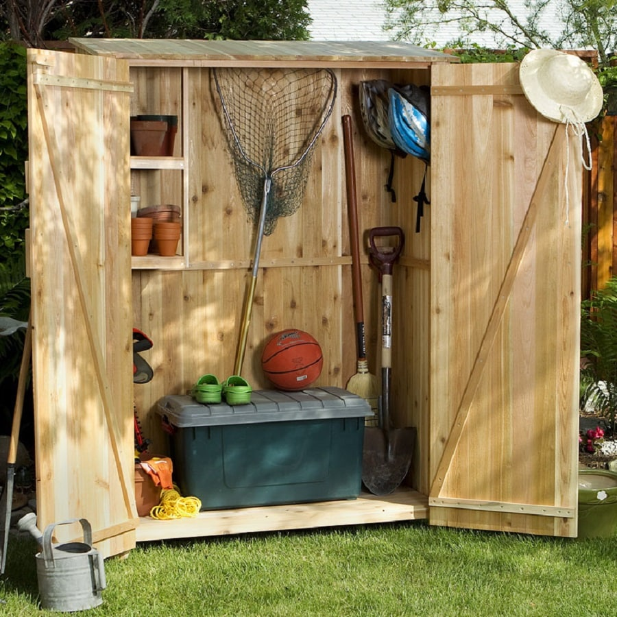Shop all things cedar lean to cedar wood storage shed for Outdoor mini shed