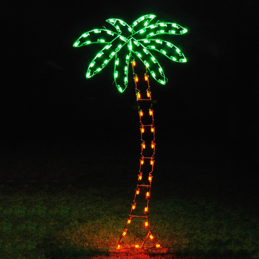 Holiday Lighting Specialists 8 83 Ft Palm Tree Outdoor Christmas Decoration With Led Multicolor Lights