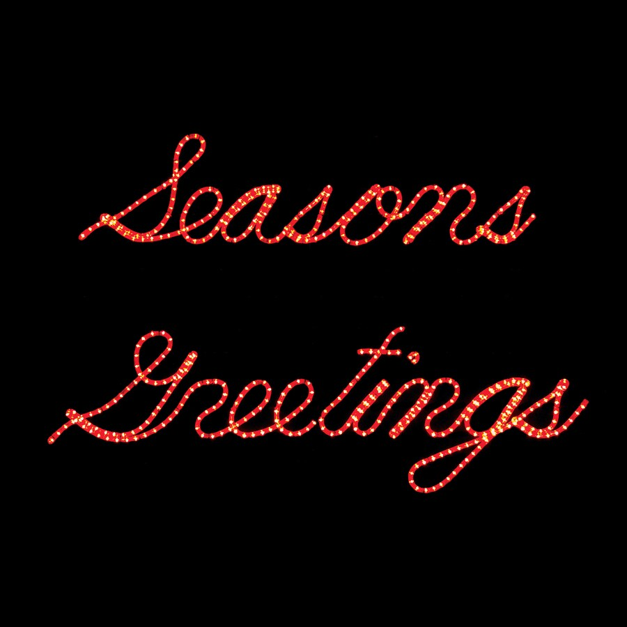 Holiday Lighting Specialists 3.8-ft Seasons Greetings Outdoor Christmas Decoration with LED Red Lights