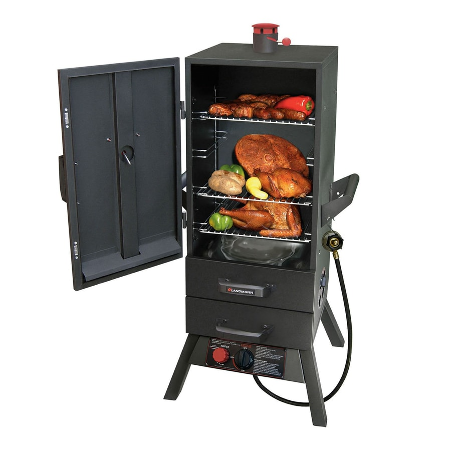 shop landmann usa smoky mountain push and turn ignition gas vertical smoker common 34 in. Black Bedroom Furniture Sets. Home Design Ideas