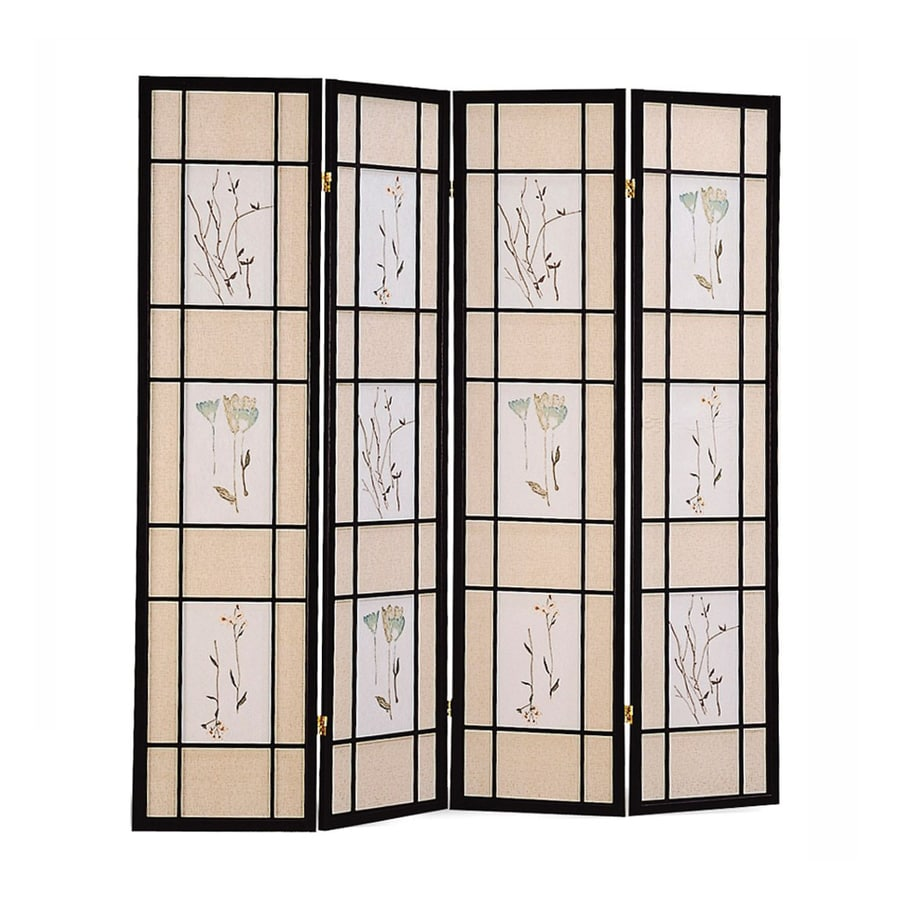 Shop coaster fine furniture 4 panel black wood and fabric for Wood privacy screen panels