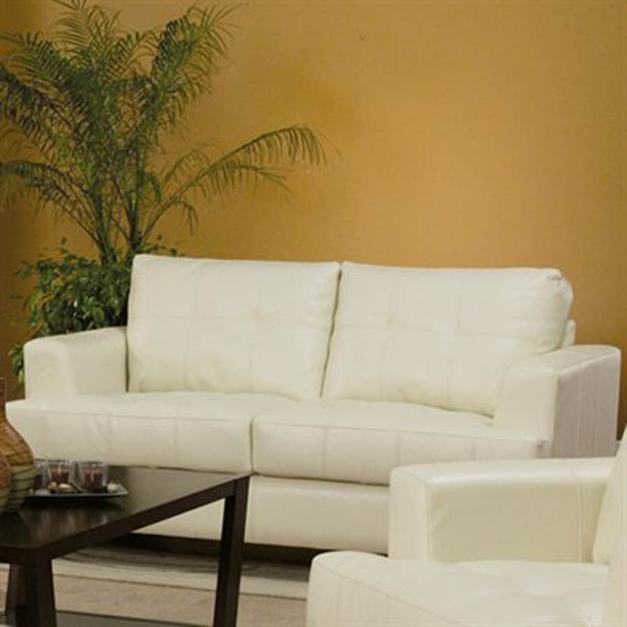 Coaster Fine Furniture Samuel Cream Bonded Leather Bonded Leather Stationary Loveseat