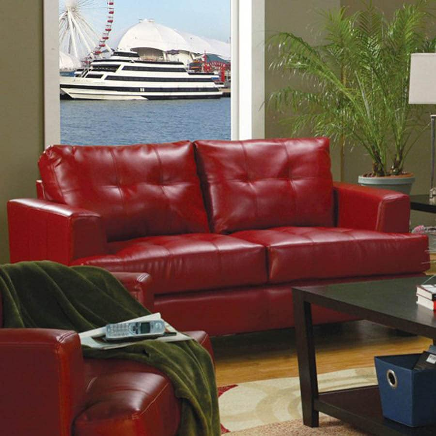 Coaster Fine Furniture Samuel Red Bonded Leather Bonded Leather Stationary Loveseat