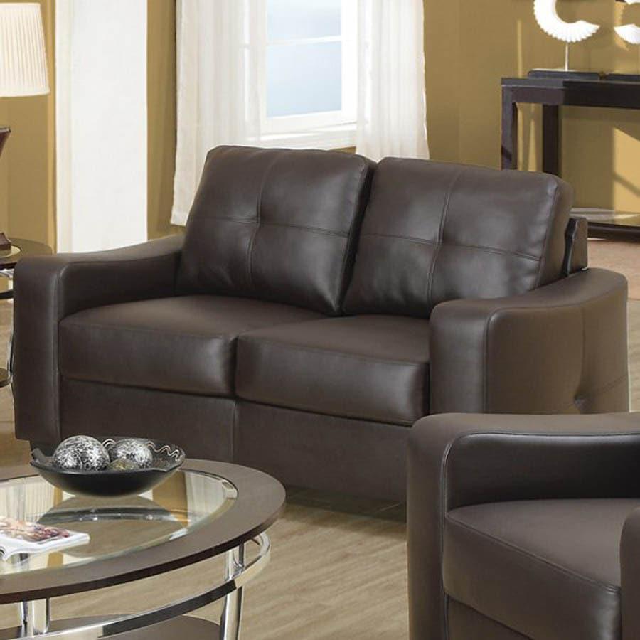 Coaster Fine Furniture Jasmine Brown Bonded Leather Stationary Loveseat