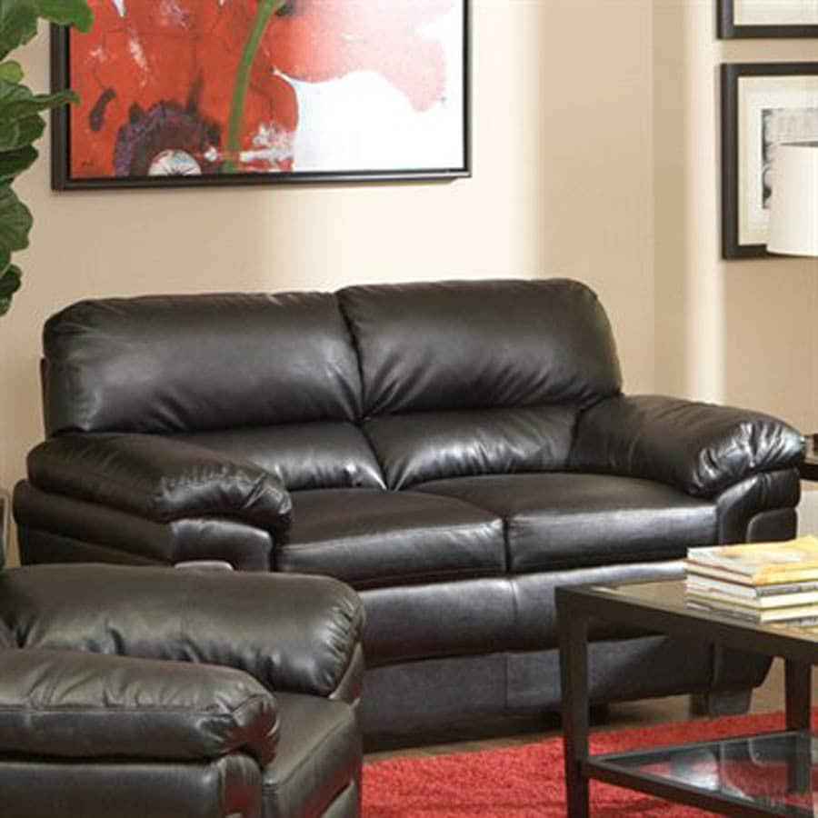 Coaster Fine Furniture Fenmore Black Faux Leather Stationary Loveseat