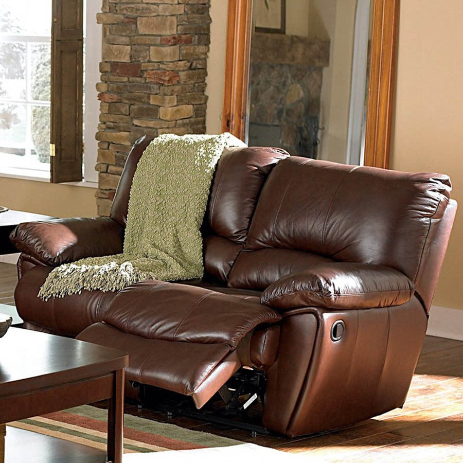 Shop Coaster Fine Furniture Clifford Dark Brown Leather Dual Reclining Loveseat At