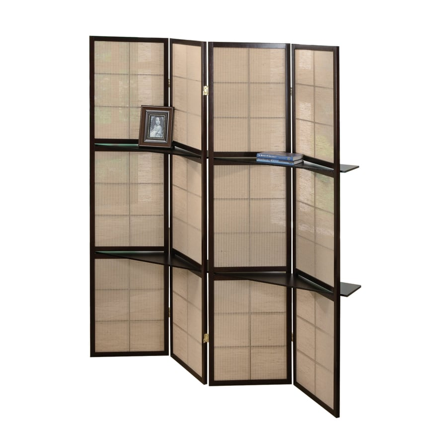 Shop coaster fine furniture 4 panel cappuccino wood and for Retractable privacy screen