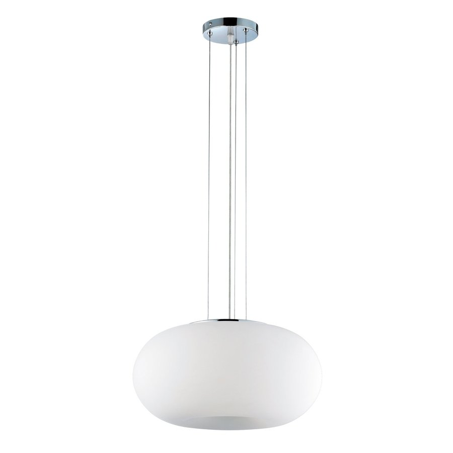 Eurofase 11-in Chrome White Glass Oval Pendant