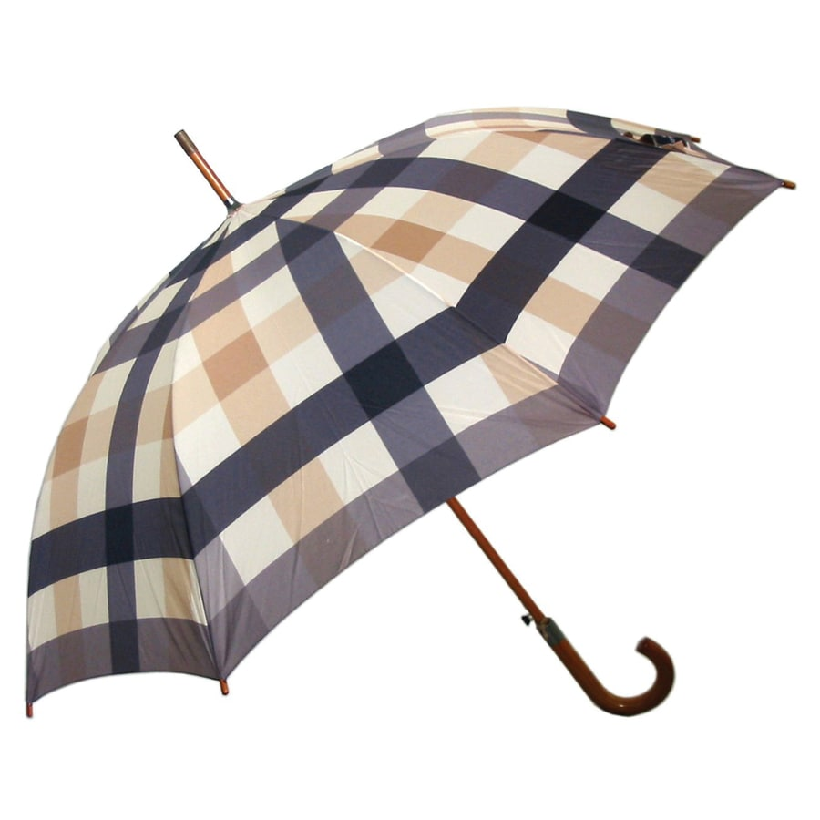 "Laura Ashley Garden 2'1"" Mitford Check Charcoal Round Patio Umbrella"