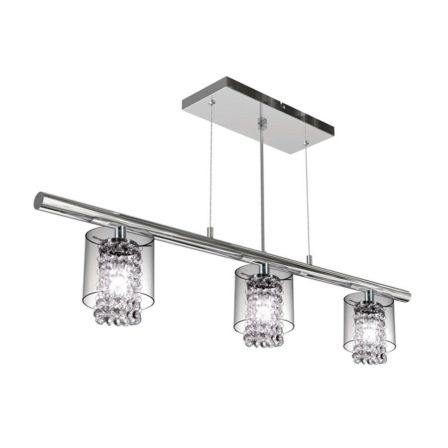 Shop bazz glam 36 in w 3 light chrome kitchen island light for 3 light pendant island kitchen lighting