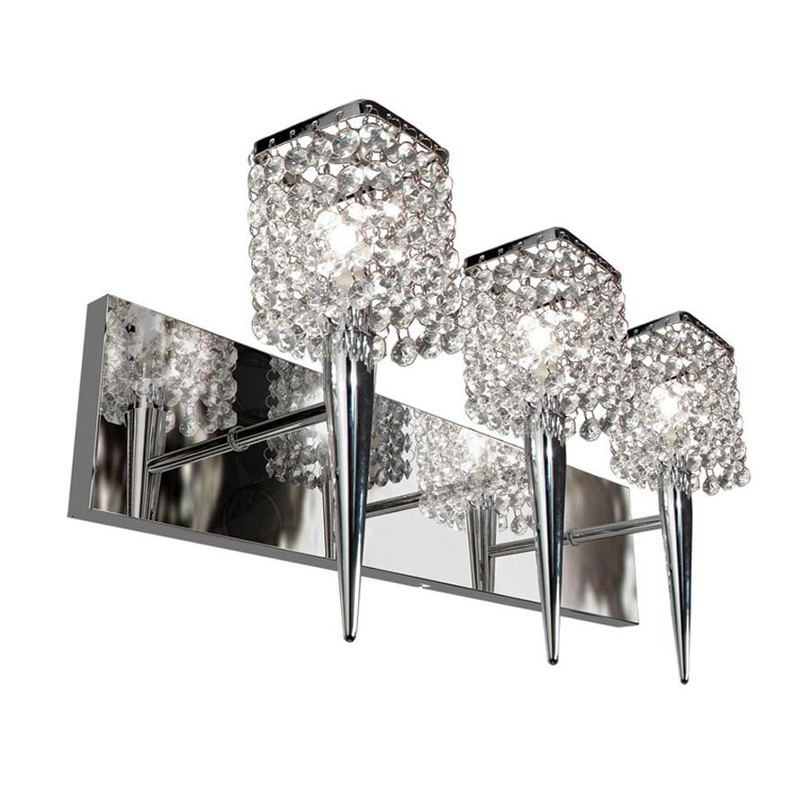 Square Glass Vanity Light : Shop BAZZ Glam Sephora 3-Light Chrome Square Vanity Light at Lowes.com