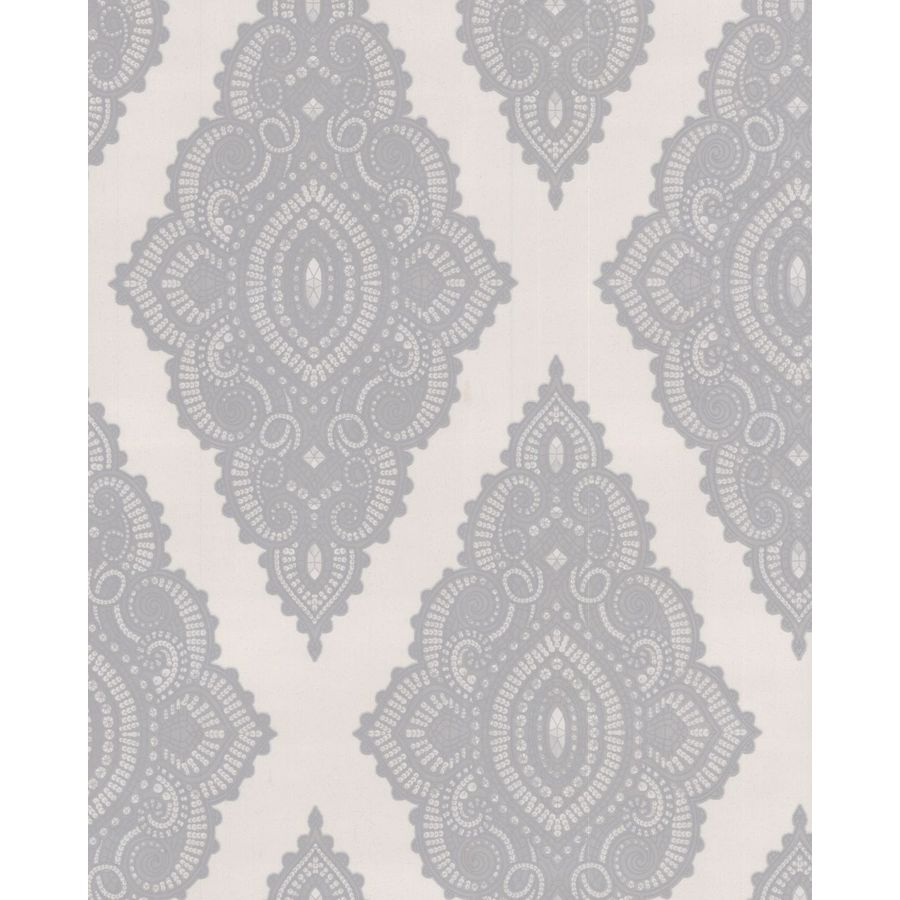 Graham & Brown White and Grey Strippable Non-Woven Paper Unpasted Textured Wallpaper