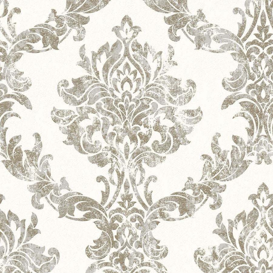 Graham & Brown White and Gold Peelable Vinyl Unpasted Textured Wallpaper