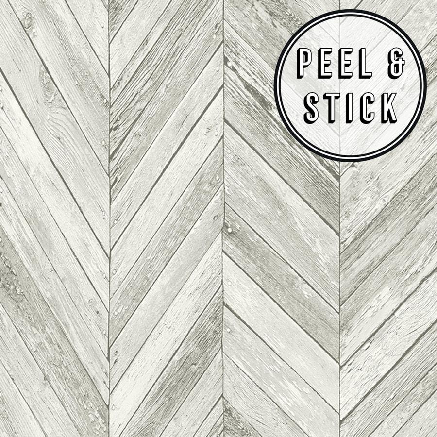 Transform Transform Light Grey Herringbone Wood Peel And Stick Wallpaper In The Wallpaper Department At Lowes Com