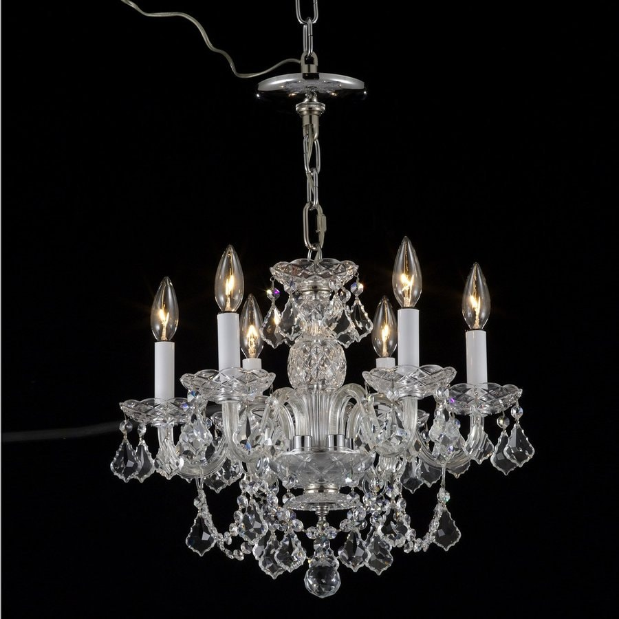 Weinstock Illuminations 18-in 6-Light Hand Polished Chrome Crystal Candle Chandelier
