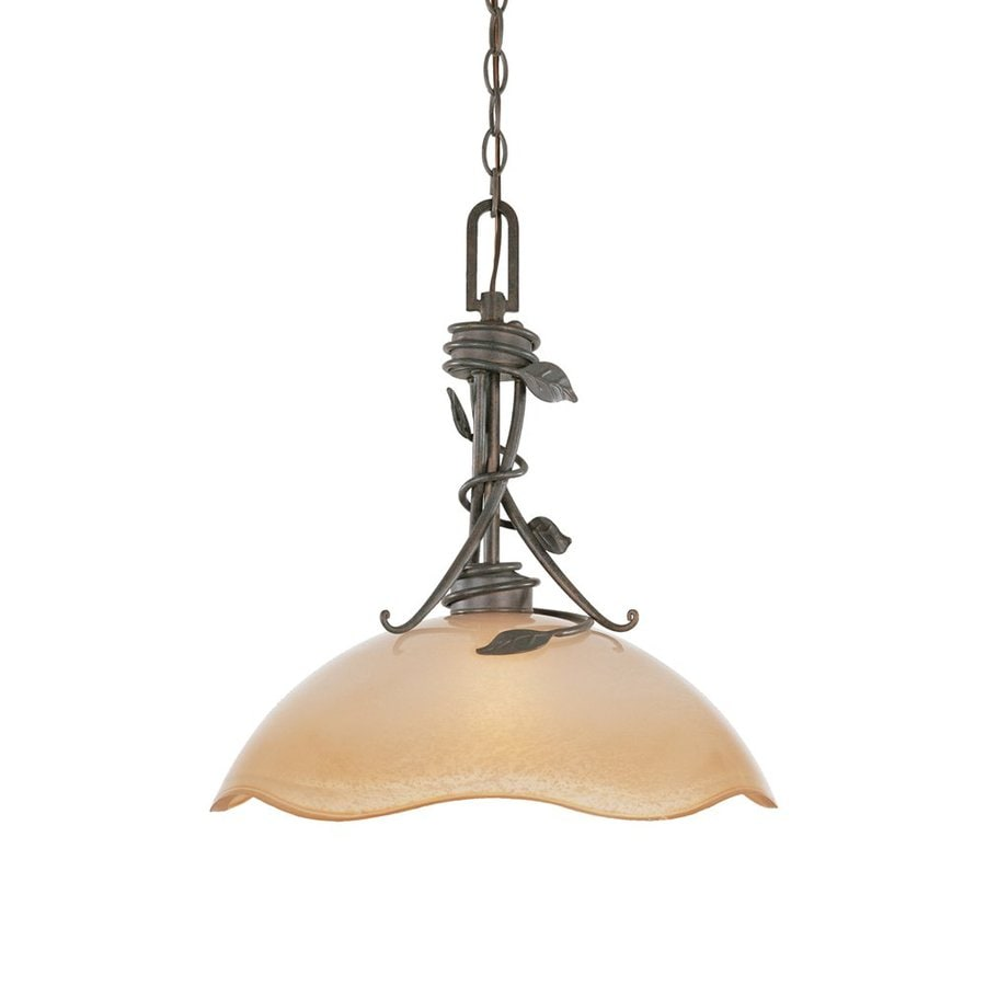 Designer's Fountain Timberline 16-in Old Bronze Mediterranean Single Tinted Glass Dome Pendant