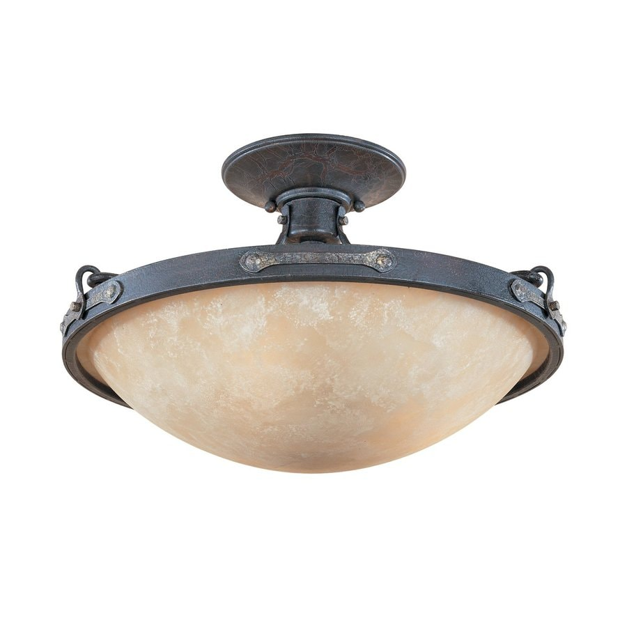 Designer's Fountain Austin 16.25-in W Weathered Saddle Tea-Stained Glass Semi-Flush Mount Light