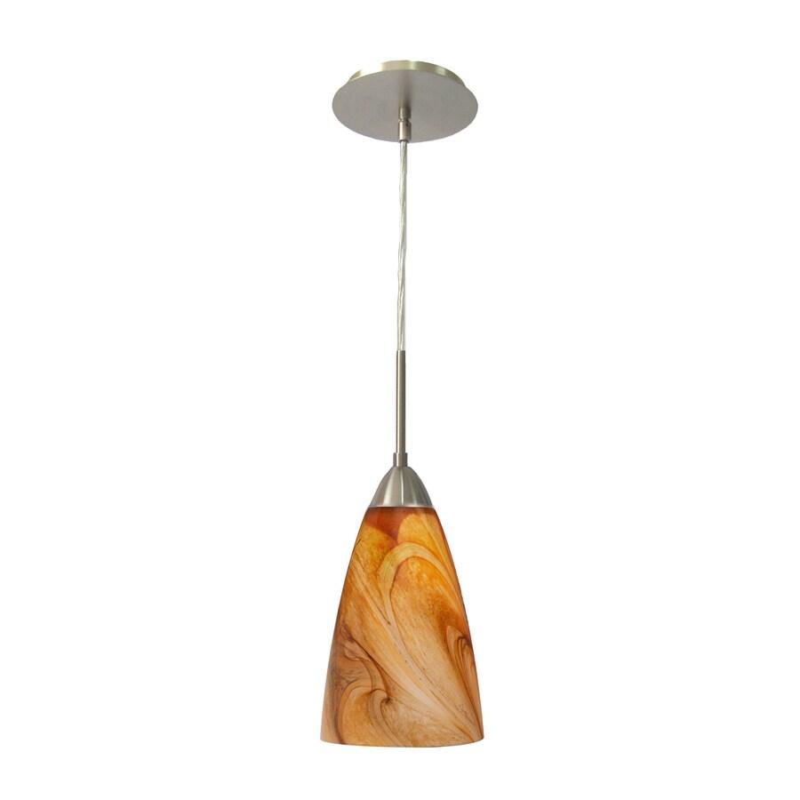 Woodbridge Lighting 5.5-in Satin Nickel Mini Art Glass Cone Pendant