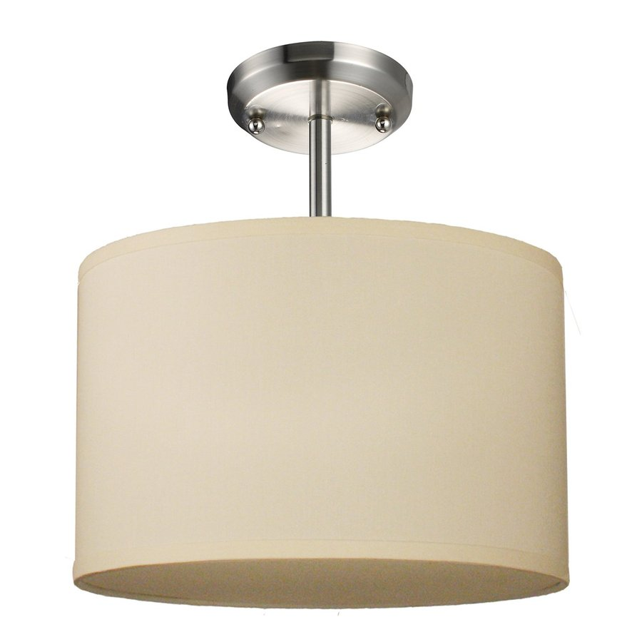 Z-Lite Albion 12-in W Brushed Nickel Fabric Semi-Flush Mount Light