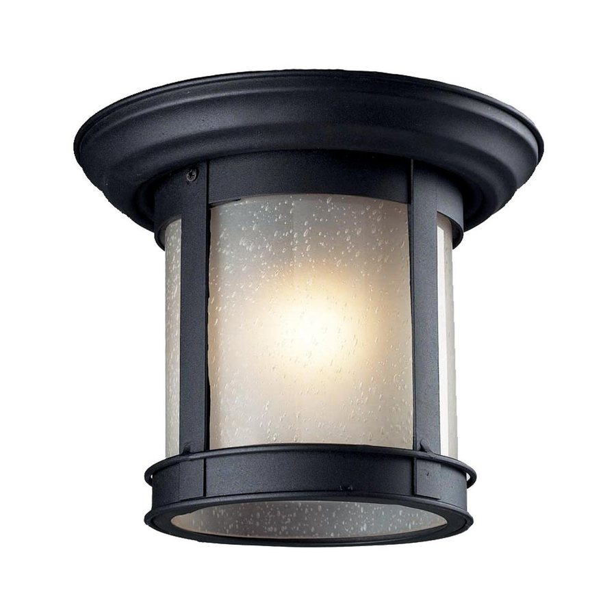 Z-Lite 9.75-in W Black Outdoor Flush Mount Light