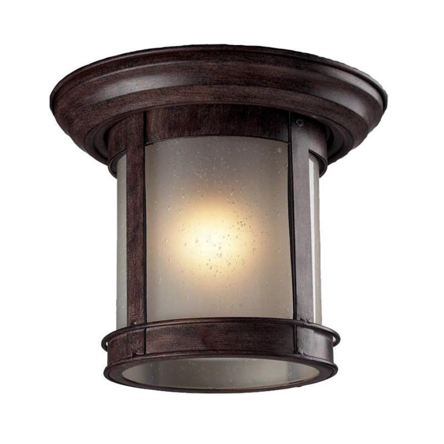Z-Lite 9.75-in W Weathered Bronze Outdoor Flush Mount Light