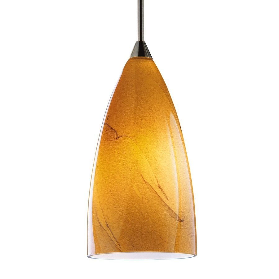 Shop Kendal Lighting 7-in H 4-in W Amber Swirl Art Glass