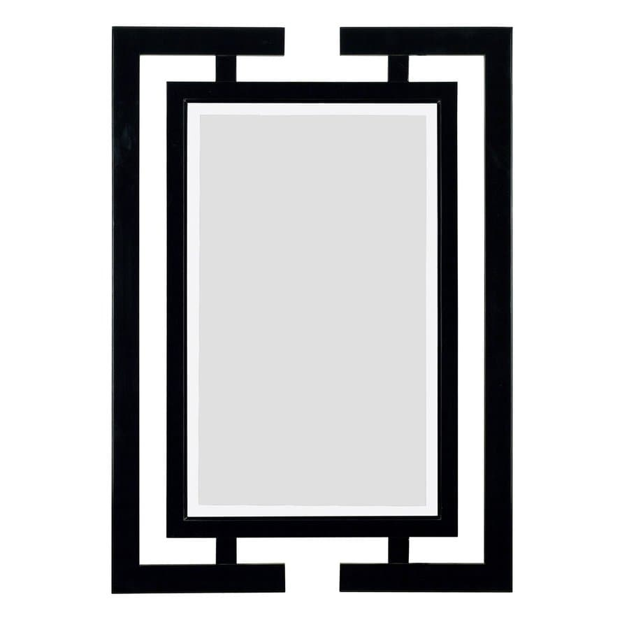 Shop kenroy home shinto 29 in x 41 in gloss black for Mirror framed wall mirror