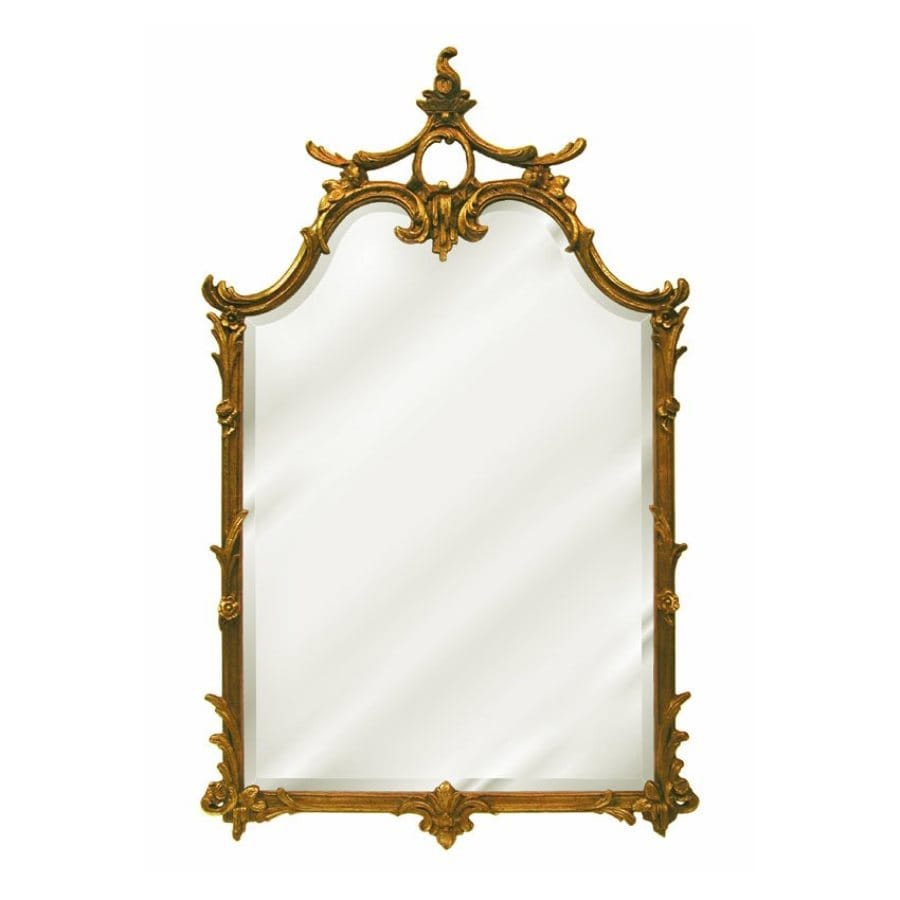 Hickory Manor House Chauncy 25.5-in x 42-in Antique Gold Beveled Arch Framed Wall Mirror