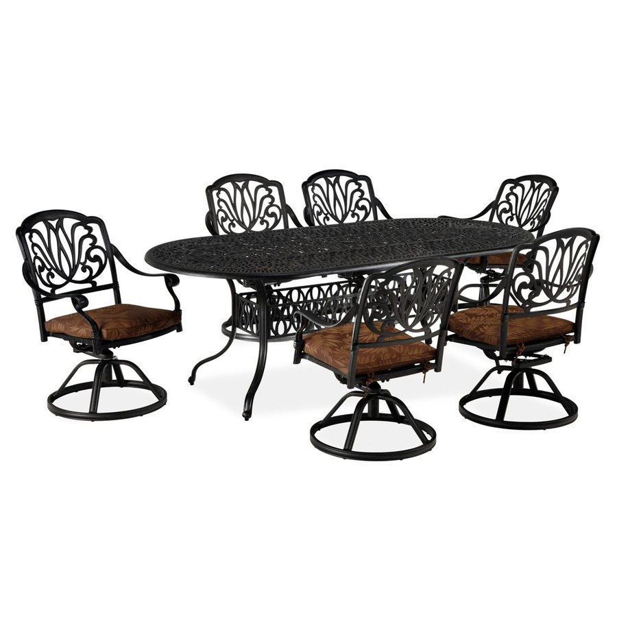 Home Styles Floral Blossom 7-Piece Charcoal Aluminum Patio Dining Set
